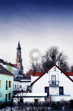 Straubing #17 stock photo, Basilica of St Jacob overlooking the Town of Straubing, Bavaria, Germany by Sean Nel