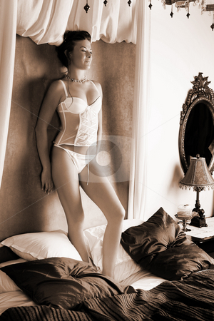 Lingerie#262 stock photo, Woman in underwear standing on a bed. by Sean Nel