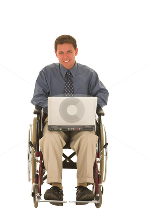 Businessman #131 stock photo, Man working on laptop sitting in a wheelchair. by Sean Nel
