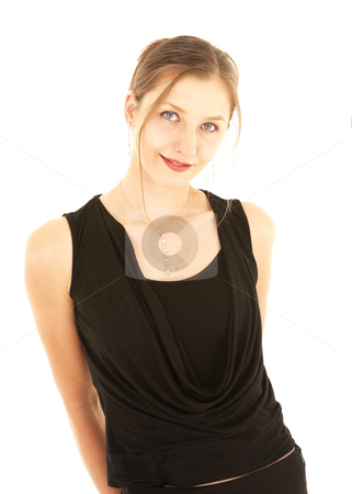 Sexy brunette businesswoman stock photo, Sexy young adult Caucasian businesswoman in a formal black dress on a white background, not isolated by Sean Nel