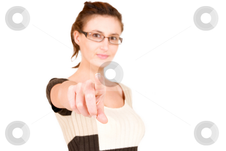 Business Lady #109 stock photo, Business woman with glasses pointing finger.  Shallow DOF - hand in focus, eyes out of focus by Sean Nel