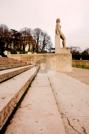 Paris #9 stock photo, Stairs and statue in Paris, France.  Copy space. by Sean Nel