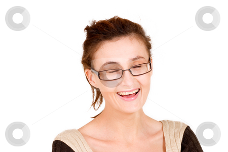 Business Lady #96 stock photo, Business woman with glasses - eyes closed, laughing by Sean Nel