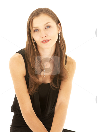 Sad brunette businesswoman stock photo, Sad young adult Caucasian businesswoman in a formal black dress on a white background, not isolated by Sean Nel