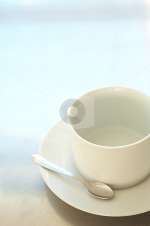 Empty white coffee cup stock photo, Empty white ceramic coffee cup and silver teaspoon ? Shallow Depth of Field, focus on rim of the cup by Sean Nel