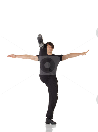 Single male tap dancer stock photo, Single Caucasian male tap dancer wearing black pants and t-shirt showing various steps in studio with white background and reflective floor. Not isolated by Sean Nel