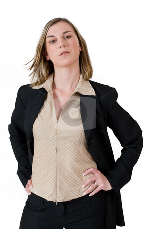 Business Lady #118 stock photo, Business woman in black suit standing with hands ons her hips by Sean Nel