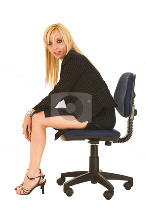 Business Woman in black #129 stock photo, Blond business woman in small black dress by Sean Nel