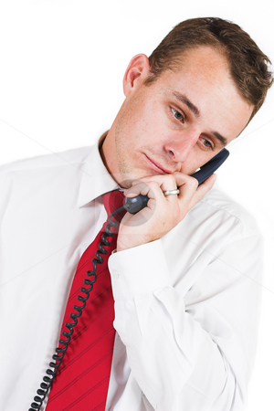 Business man #24 stock photo, Business man in a suit with a blue telephone by Sean Nel