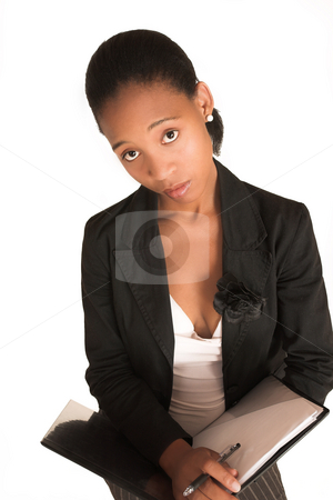 Mida Matsimela #13 stock photo, African business woman dressed in black jacket. Holding file. by Sean Nel