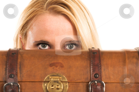 Business Woman #363 stock photo, Blond business woman. Peeking over an old suitcase by Sean Nel