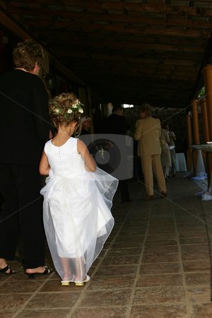 Flowergirl stock photo, Flower girl waiting for bride by Sean Nel