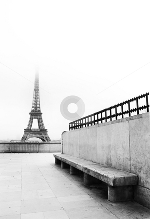 Paris #56 stock photo, The Eiffel Tower in Paris, France. Black and white.  Copy space. by Sean Nel