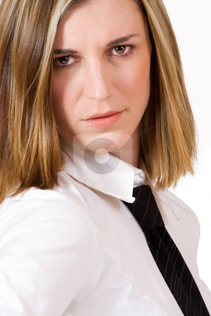 Felicity Calitz #12 stock photo, Business woman with white shirt and black tie by Sean Nel