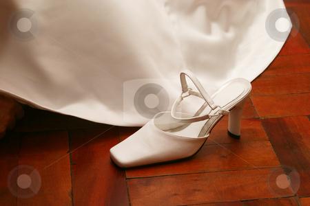 Bridal shoe stock photo, White satin shoe by Sean Nel