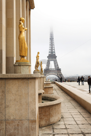 Paris #60 stock photo, A building in the foreground with the Eiffel Tower in Paris, France.  Copy space. by Sean Nel