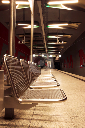Munich #33 stock photo, Chairs in a train station. by Sean Nel