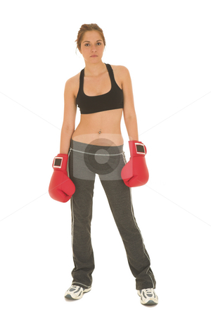 Boxer #13 stock photo, Brunette with red boxing gloves by Sean Nel