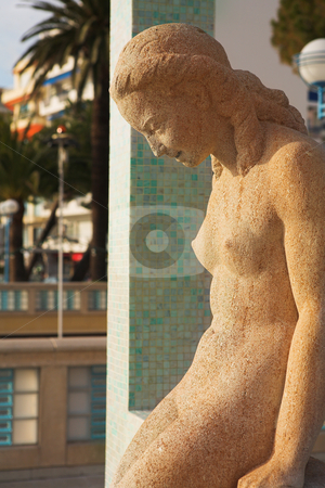 JuanLesPins #5 stock photo, The famous bathing lady on the Juan Les Pins Waterfront - Sunset by Sean Nel