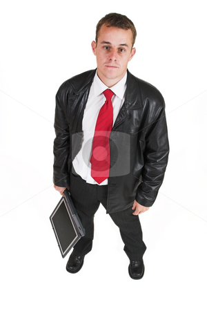 Business man #11 stock photo, Business man in a suit with a notebook computer - Top view by Sean Nel