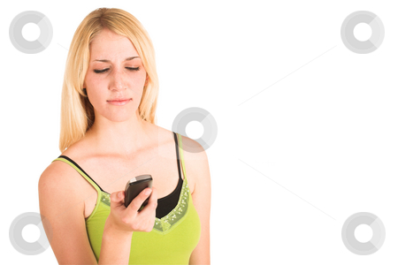 Businesswoman #459 stock photo, Blonde business lady in an informal green top. Holding a telephone.  Looking down.  copy space. by Sean Nel
