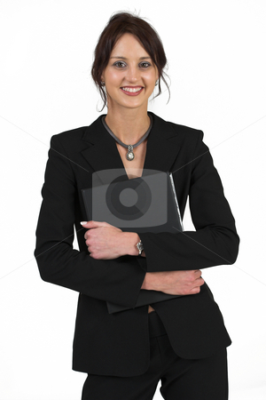 Business Lady #55 stock photo, Business woman with black file by Sean Nel
