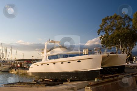 Cape Boat #7 stock photo, Catamaran in Drydock - Gordonsbay, South Africa by Sean Nel