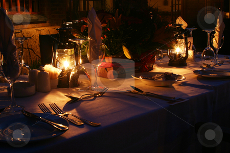 Romantic dinner stock photo, Romantic outdoor dinner with lanterns by Sean Nel