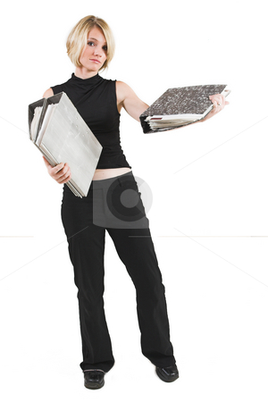 Businesswoman #46 stock photo, Business woman in black outfit with files by Sean Nel