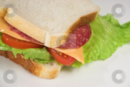 Food #21 stock photo, A salami, cheese, tomato and lettuce sandwich on a white plate. by Sean Nel