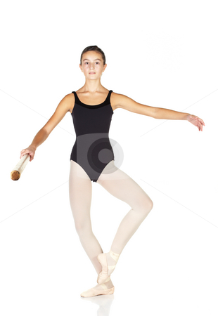 Ballet Steps stock photo, Young caucasian ballerina girl on white background and reflective white floor showing various ballet steps and positions. Battement Fondu. Not Isolated. by Sean Nel