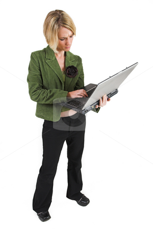 Heidi Booysen #27 stock photo, Business woman green jacket, holding laptop by Sean Nel