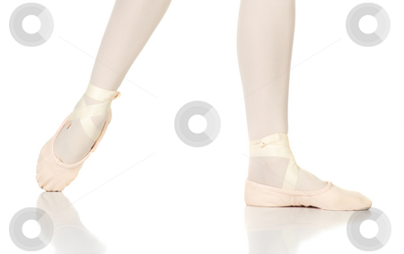 Ballet Feet Positions stock photo, Young female ballet dancer showing various classic ballet feet positions on a white background - Degage Derriere. NOT ISOLATED by Sean Nel