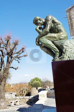 The Thinker - St Paul #9 stock photo, A copy of the famous bronze sculpture of Auguste Rodin  by Sean Nel
