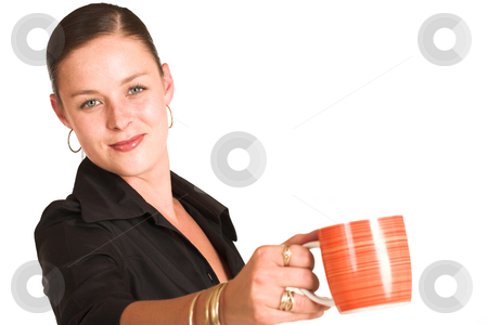 Charmaine Shoultz #1 stock photo, Business woman dressed in a black shirt.  Holding coffee mug. Shallow DOF - mug out of focus, face in focus. by Sean Nel