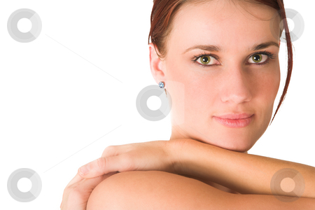 Gym #70a stock photo, Woman's face on white background by Sean Nel