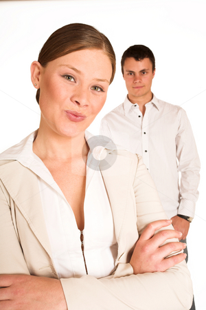 Business People #36 stock photo, Two business partners: one woman and one man. by Sean Nel
