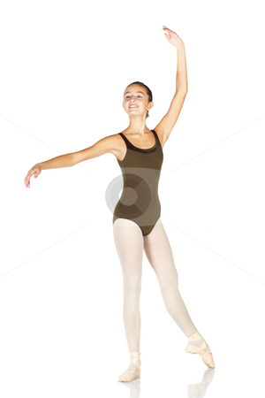 Young Ballet Dancer stock photo, Young female ballet dancer showing various classic positions on a white background - Ecarte. NOT ISOLATED by Sean Nel