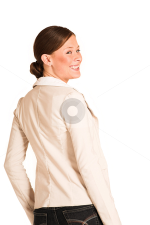 Business Woman #222(GS) stock photo, Business woman dressed in jeans and a beige jacket. by Sean Nel