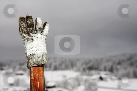 Kirchberg #23 stock photo, Glove on wooden pole with snow in the background.  Copy space by Sean Nel