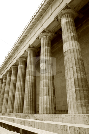 Regensburg10 stock photo, Pillars in Regensburg, sepia by Sean Nel