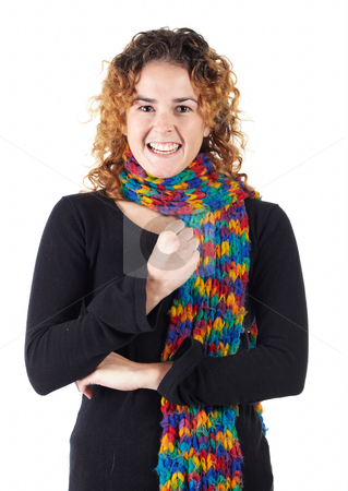 Young adult woman stock photo, Cute young adult caucasian woman curly red hair in a black top and a colorful scarf on a white background in various poses, with various facial expressions. Not Isolated by Sean Nel