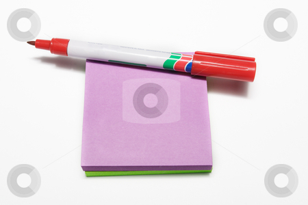 Notepad #1 stock photo, Red fiber tipped pen and sticky pad by Sean Nel