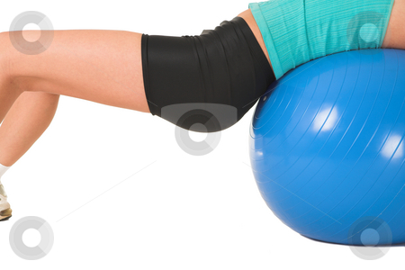 Gym #157 stock photo, Woman in gym wear working out with ball. by Sean Nel
