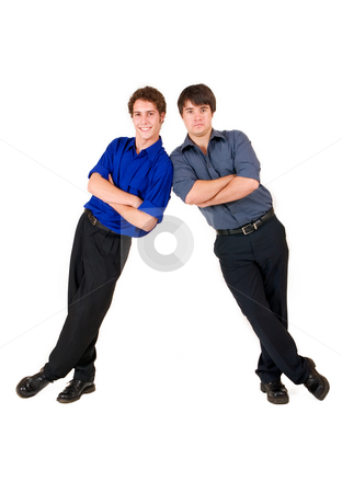 Business People #6 stock photo, Two business partners leaning on each other by Sean Nel