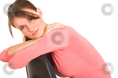 Businesswoman #413 stock photo, Brunette business lady in pink top. Sitting on an office chair.  Copy space by Sean Nel