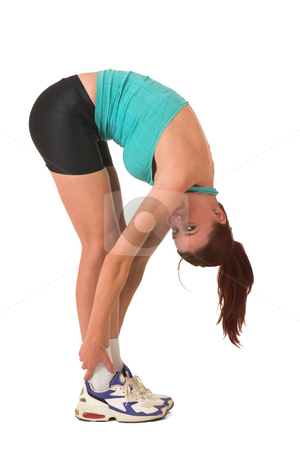 Gym #117 stock photo, Woman bending over, stretching. by Sean Nel