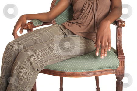 Cynthia Akva #9 stock photo, African business woman dressed in neutral coloured clothes sitting on chair by Sean Nel
