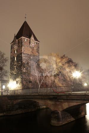 Neurenburg #66 stock photo, Jail and Pegnitz river in Neurenburg at nighttime. by Sean Nel