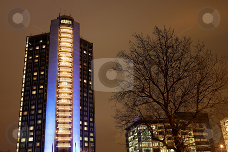 London #44 stock photo, Night scene of a street and buildings. by Sean Nel